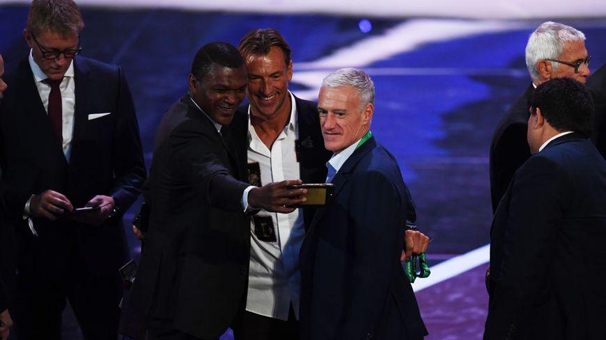 Hervé Renard au centre, Marcel desailly à gauche et Didier deschamps à droite - Moscou the 2018 FIFA World Cup Russia