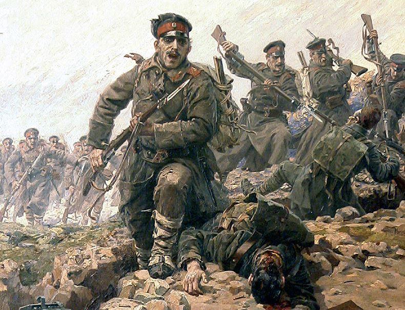Charge des soldats bulgares contre les Turcs, tableau de Jaroslav Vešin (1912).