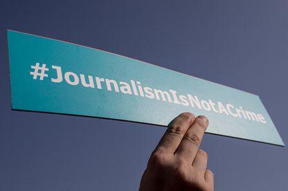 Manifestation pour les droits des journalistes en Turquie, en marge du procès contre le personnel du journal Cumhuriyet