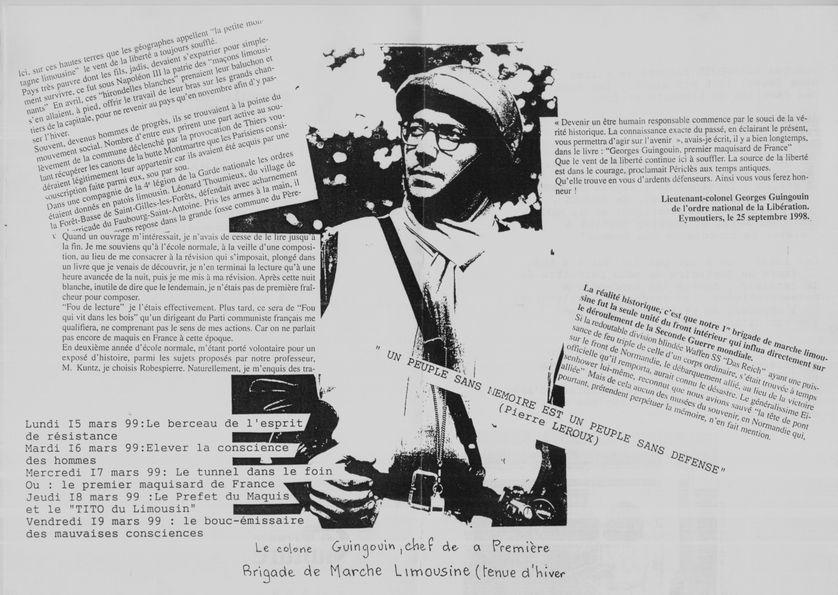"""Présentation des """"A voix nue"""" de Georges Guingouin par Geneviève Huttin - 1999"""
