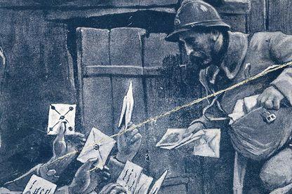 Carte postale patriotique montrant l'importance du courrier dans les tranchées