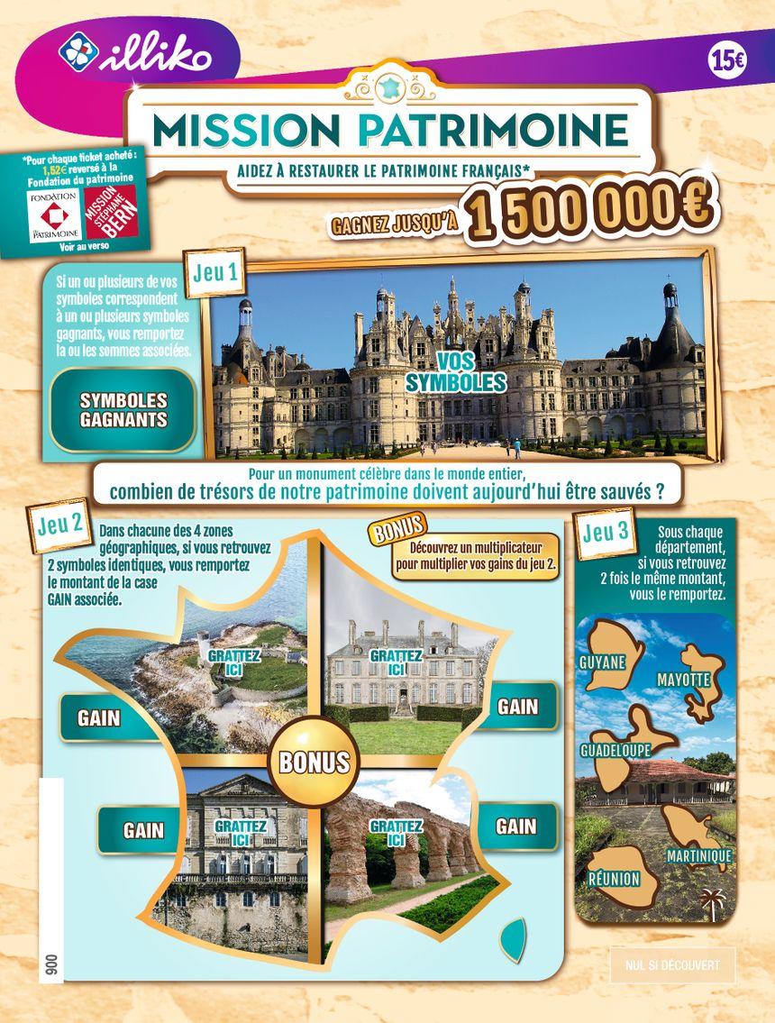 """Le château de Carneville (jeu n°2, en haut à droite) fait partie des 13 sites représentés sur les 3 tickets à gratter """"Mission patrimoine"""""""