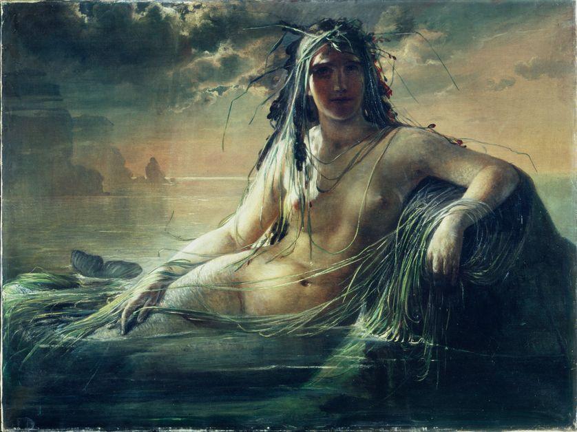 """Élisabeth JERICHAU-BAUMANN, """"Une Sirène"""", 1873, Huile sur toile, 96 x 126 cm"""