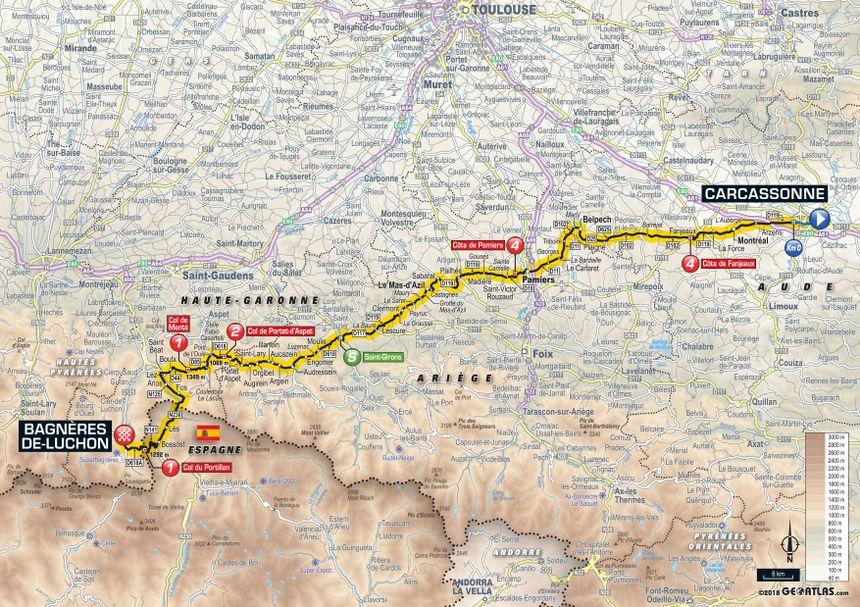 Tour de France 2018 : le parcours de la 16e étape entre Carcassonne et Bagnères-de-Luchon