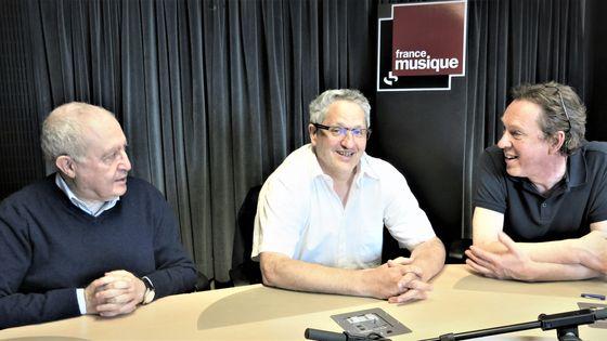 France Musique, studio 131... Serge Elhaïk, Jean-Christophe Keck & Benoît Duteurtre (g. à d.)
