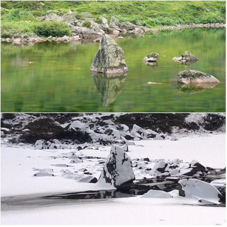 Ces photos prises à différents moment de l'année permettent de voir, entre autres, l'évolution du niveau d'eau.