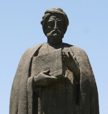Statue of Ibn Khaldun in front of the Cathedral of St. Vincent de Paul, Avenue Habib Bourguiba, Tunis.