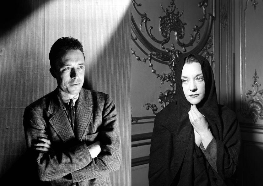 Albert Camus (en 1946) et Maria Casarès (1951, dans la pièce Le Diable et le bon Dieu)