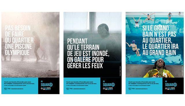 Les trois affiches de la campagne de sensibilisation de Veolia Eau d'Île-de-France contre les piscines sauvages.