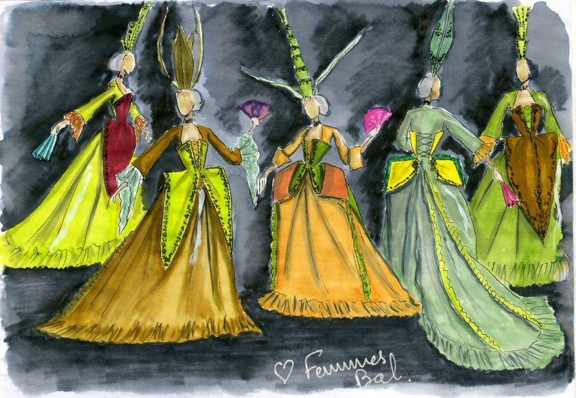 """Costumes d'Alain Blanchot pour """"Cendrillon"""", mise en scène de Benjamin Lazar, à l'Opéra-Comique, 2011"""