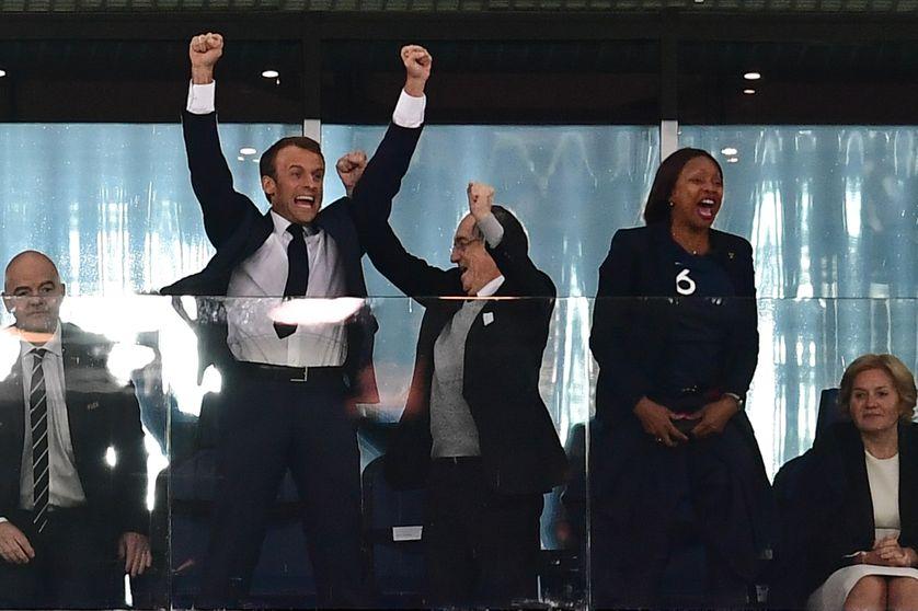 Emmanuel Macron, lors de la victoire de la France en demi-finale de la Coupe du monde de football, en Russie.
