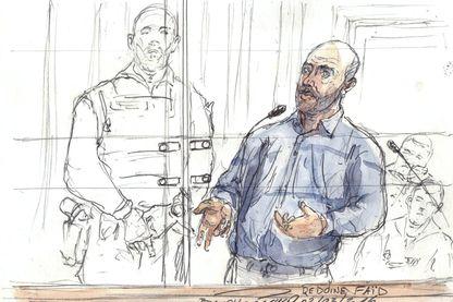 Dessin du procès de Redoine Faïd le 2 mars 2016