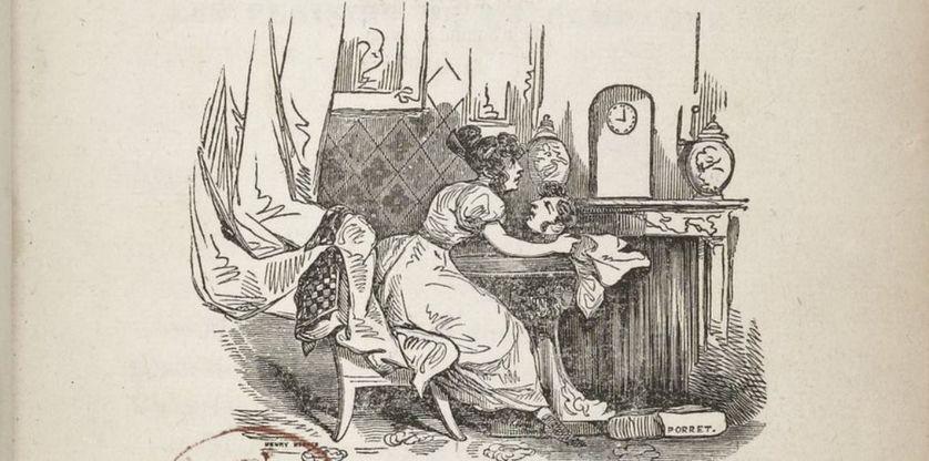 """Détail de l'illustration de l'édition française du roman """"Le Rouge et le noir"""" de Stendhal, 1831- Levavasseur, Libraire, Palais-Royal•"""