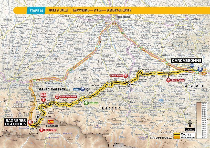 Le parcours de la 16e étape entre Carcassonne et Bagnères-de-Luchon