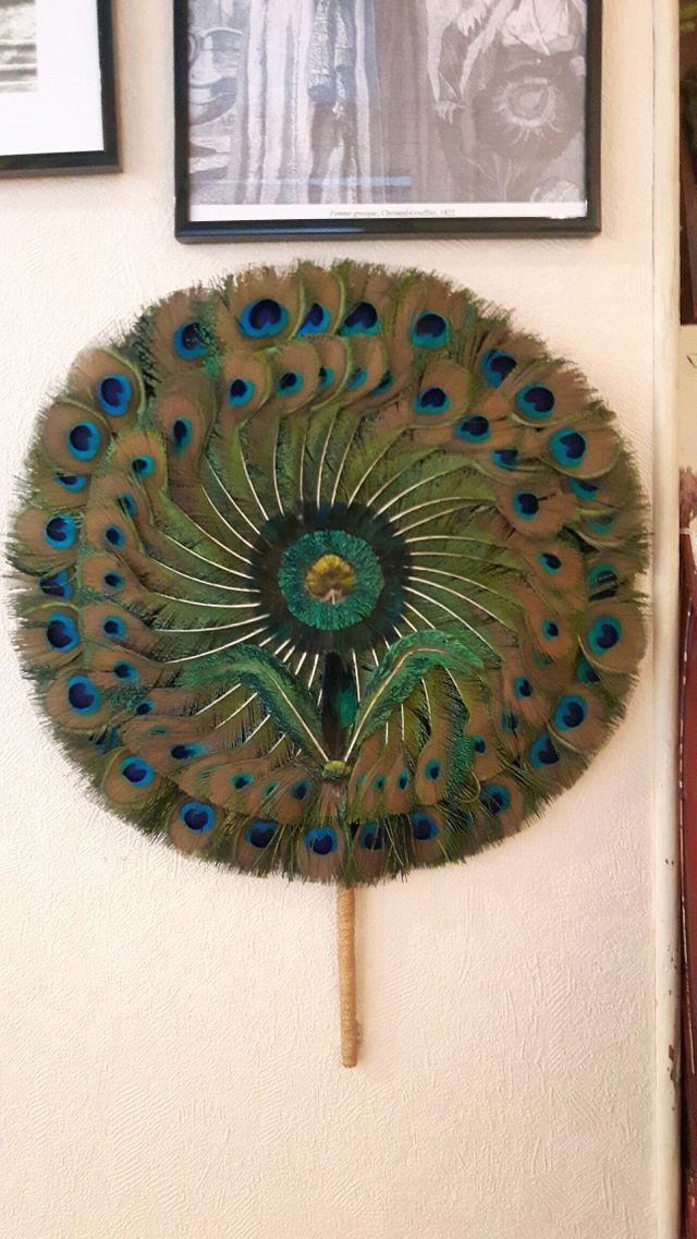 Eventail en plumes de paon