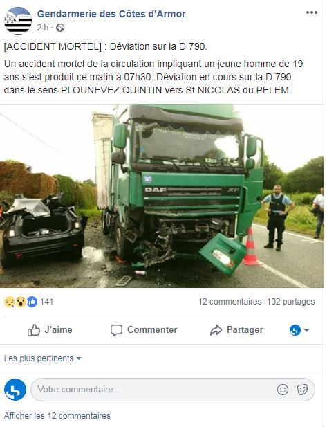 Capture d'écran de la publication Facebook de la gendarmerie.