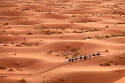 Caravane de touaregs dans le désert du Sahara