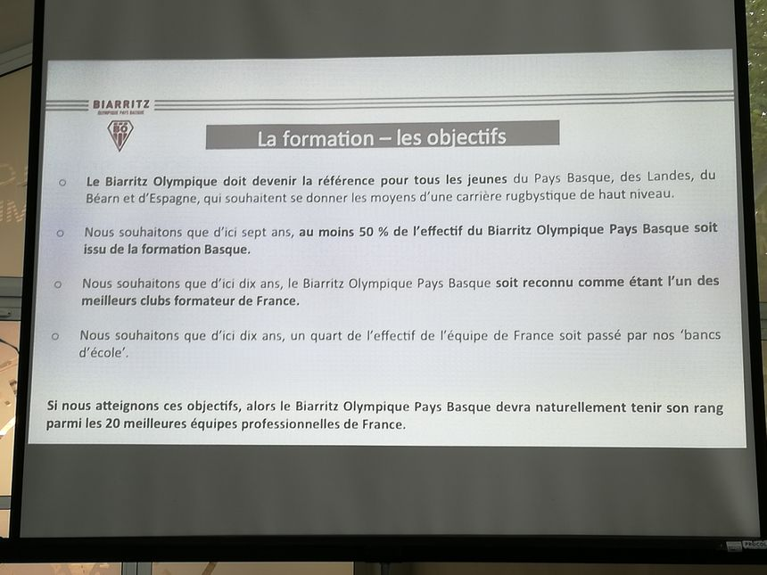 Les objectifs du projet de formation du Biarritz Olympique version Gave-Aldigé