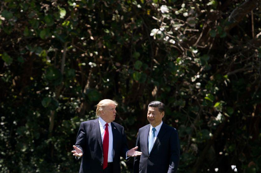 Les Présidents américain et chinois à Mar-a-Lago en Floride en avril 2018 avant la bataille commerciale