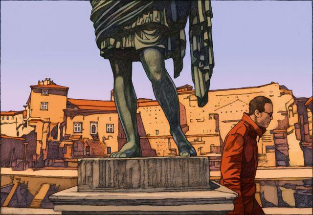 Page du Travel Book Rome par Miles Hyman