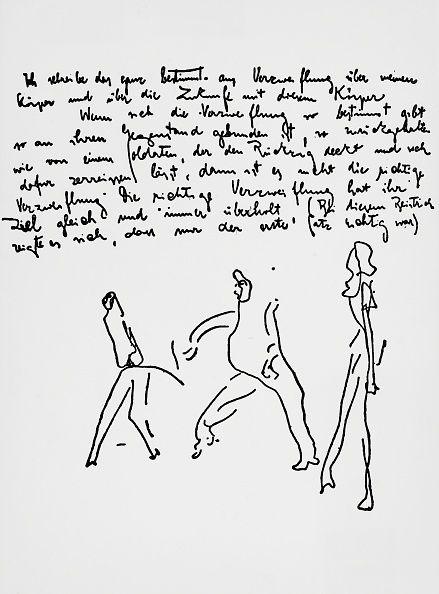 Ecriture et dessins issus du journal de Franz kAFKA