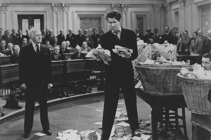 "James Stewart dans ""Mr. Smith Goes to Washington"" (Mr Smith va au Sénat""), le film de Frank Capra réalisé en 1940"
