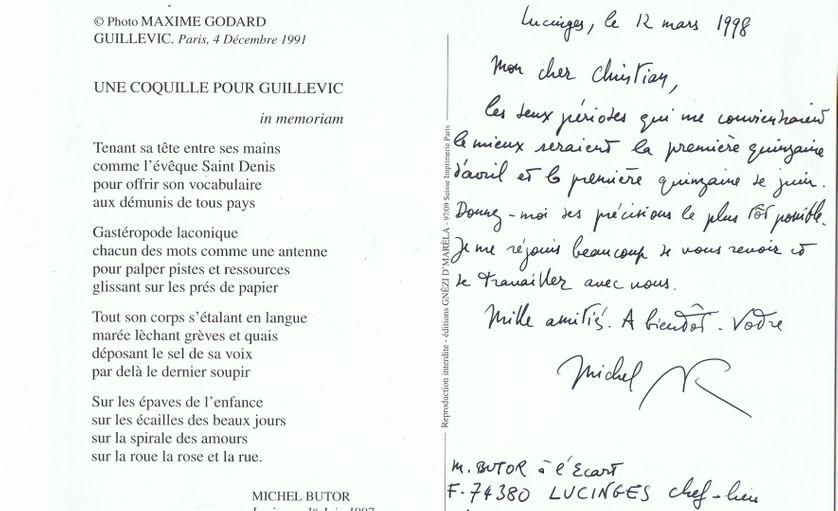 Collage d'une lettre de Michel Butor envoyée à Christian Rosset avec un poème.