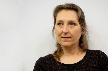 Marie Darrieussecq, romancière pendant le Salon du Livre le 24 mars 2017 à Paris, France.
