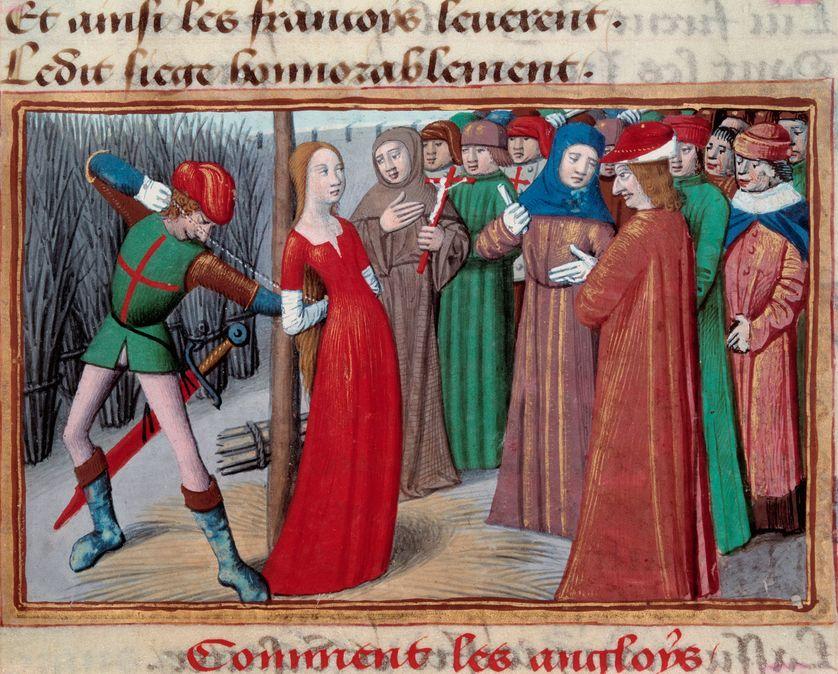 Jeanne d'Arc au bûcher, tiré des 'Vigiles du Roi Charles VII' par Martial d'Auvergne, 1484.