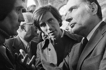 Jack Lang, François Mitterrand en 1975 au Festival de théâtre de Nancy