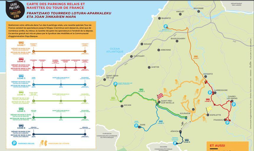 Le tracé des navettes desservant le parcours du contre-la-montre du Tour de France 2018