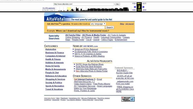 Capture du site AltaVista