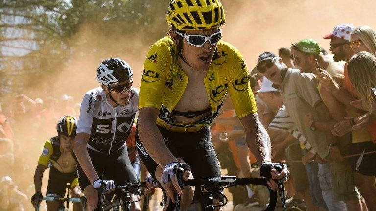 Geraint Thomas et Christopher Froome sur les routes du Tour de France 2018