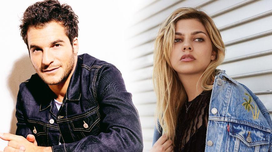 Le chanteur Amir et la chanteuse Louane.