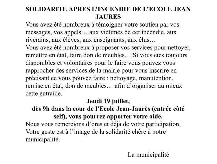 Le communiqué de la mairie pour cette journée de solidarité (Capture d'écran)