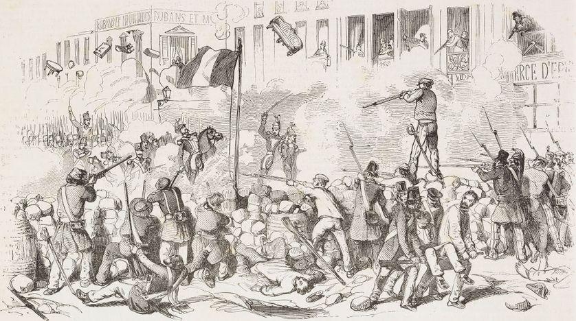 La défense d'une barricade à Paris en 1848