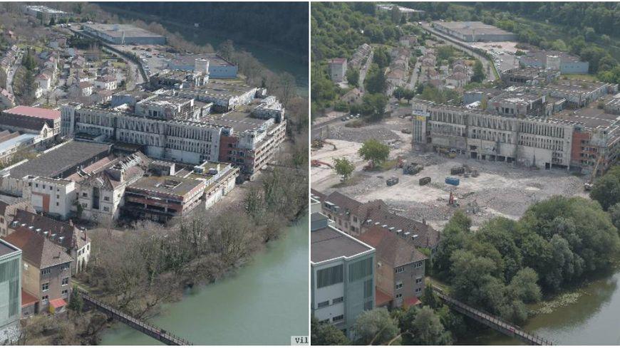 La friche industrielle de la Rhodiaceta à Besançon : avant le début de la démolition (à gauche) et maintenant (à droite) en juillet 2018