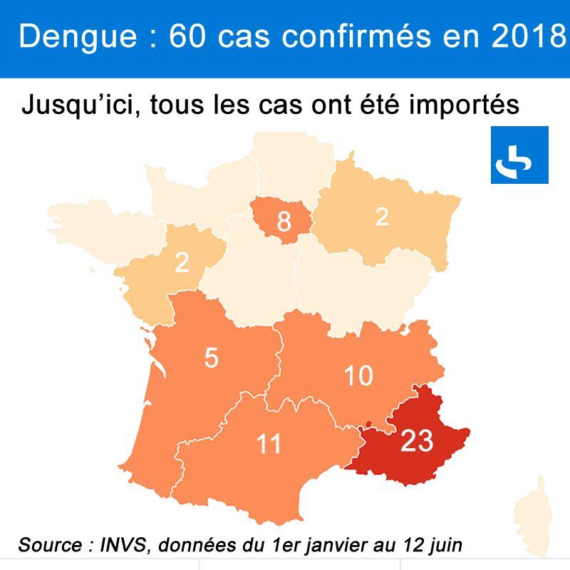 Les cas de dengue en France métropolitaine entre le 1er janvier et le 12 juin 2018