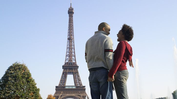 Un couple devant la Tour Eiffel