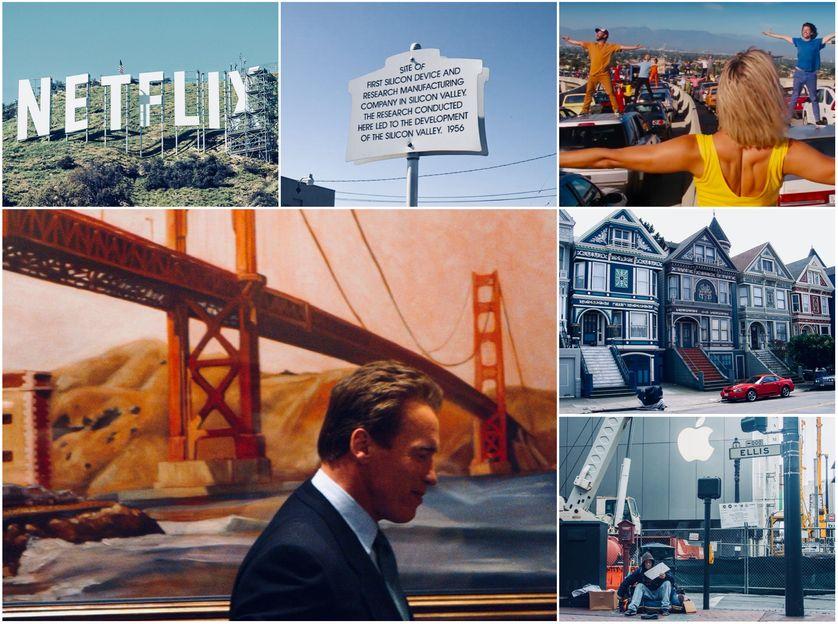 Détail Une de The Economist ; Silicon Valley,  391 San Antonio Rd, Mountain View ; Extrait DVD de La La Land ;  A. Schwarzenegger à San Francisco , 2004/Getty ; Haight Ashbury, San Francisco, 2004 ; Sans-abri dans la Silicon Valley, Business Inside