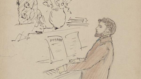 Dessin de Reynaldo Hahn au piano, 1900.