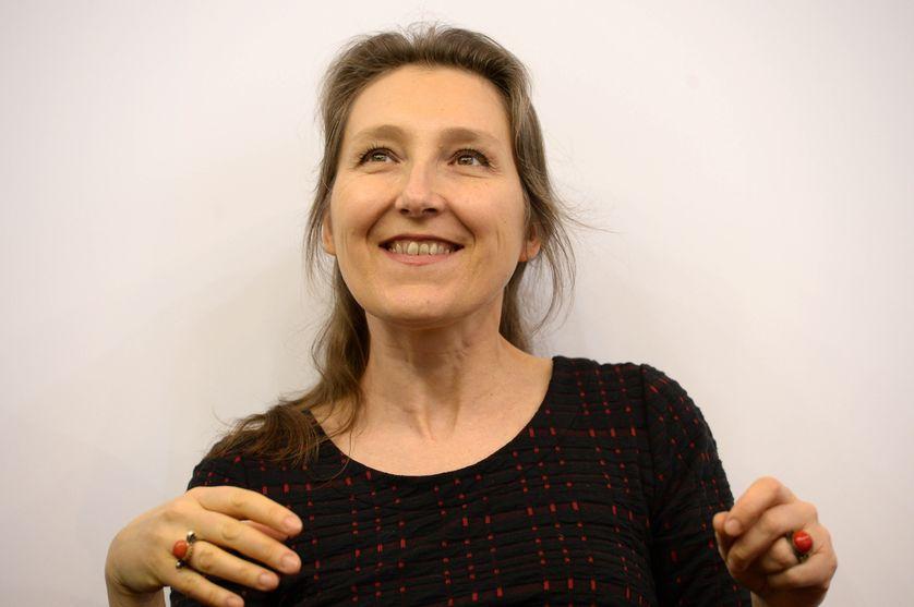 Marie Darrieussecq, psychanaliste et écrivain française lors du Salon du Livre le 24 mars 2017 à Paris, France