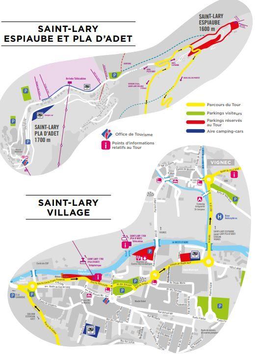 Les plans du village de St-Lary, d'Espiaube et de Pla d'Adet.