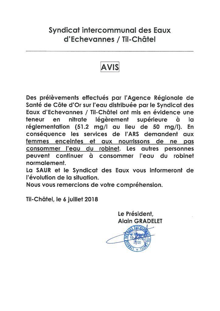 Le communiqué du maire de Til-Châtel à l'attention de sa population municipale