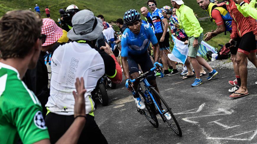 Nairo Quintana à son arrivée au Col du Portet