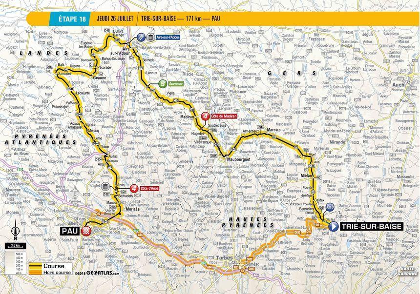Tour de France : le tracé de la 18e étape entre Trie-sur-Baïse et Pau