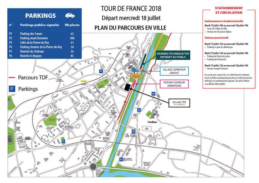 Le plan de circulation pour le village départ à Albertville.