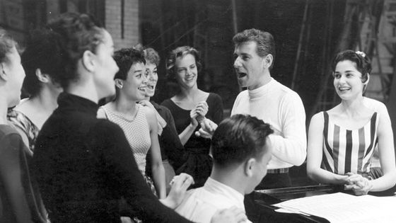 Bernstein en répétition de West Side Story (1957), au piano Stephen Sondheim © Library of Congress archives