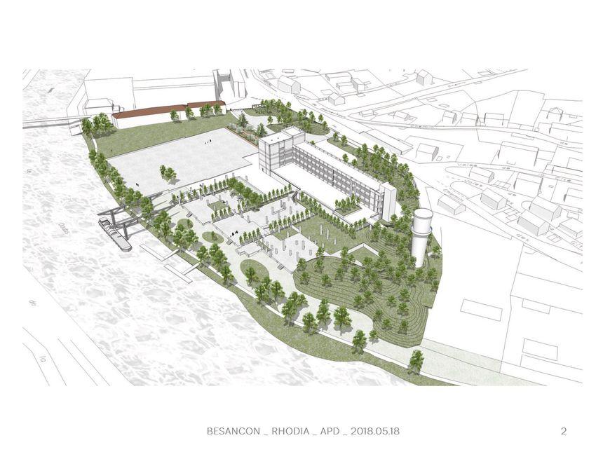 Les plans du futur parc urbain de la Rhodiaceta à Besançon