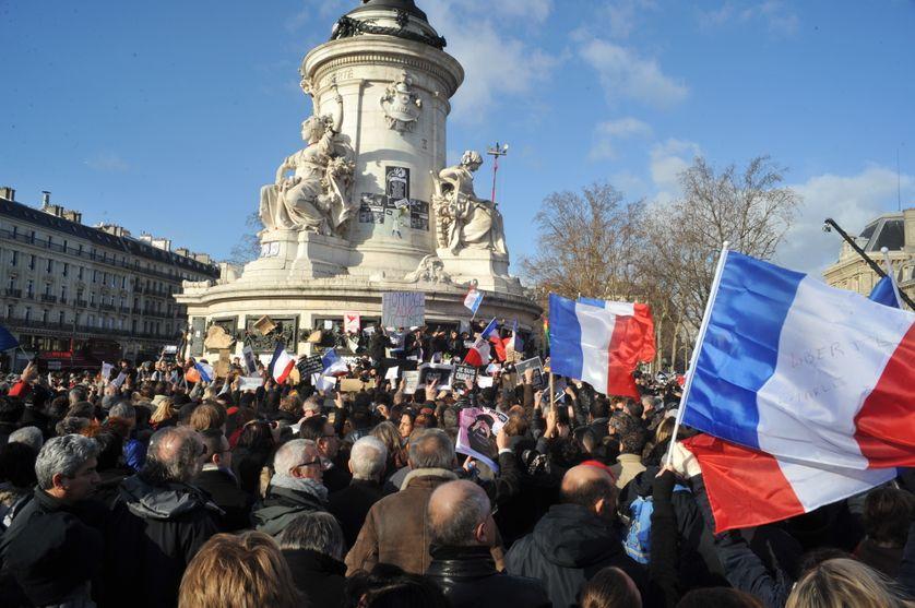 Marche hommage à Charlie hebdo et aux victimes des attentats de janvier 2015, le 11/01/2015